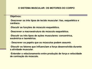 O SISTEMA MUSCULAR: OS MOTORES DO CORPO Objetivos: