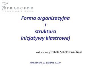 Forma organizacyjna i struktura  inicjatywy klastrowej – koncepcja szkolenia