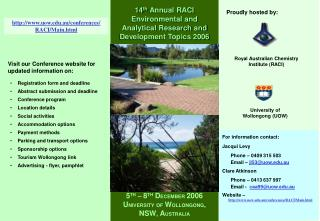 For information contact: Jacqui Levy        Phone – 0409 315 503        Email –  jl53@uow.au