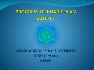 PROGRESS OF KHARIF PLAN 2010-11