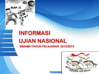 INFORMASI UJIAN NASIONAL  SMA/MA TAHUN PELAJARAN  2012/20 1 3