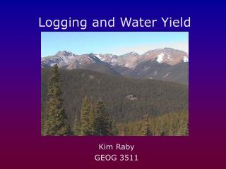 Logging and Water Yield