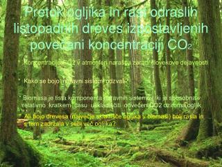 Pretok ogljika in rast odraslih listopadnih dreves izpostavljenih povečani koncentraciji CO 2