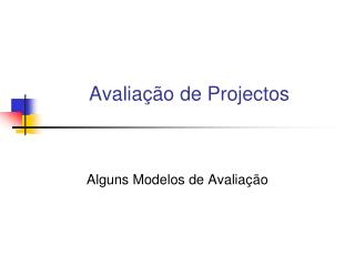 Avalia��o de Projectos