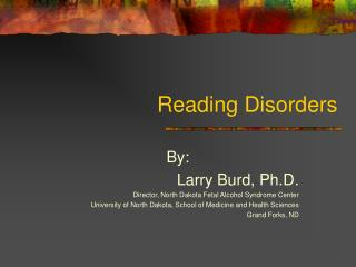 Reading Disorders