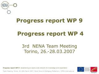 Progress report WP 9  Progress report WP 4  3rd  NENA Team Meeting Torino, 26.-28.03.2007