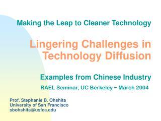 Prof. Stephanie B. Ohshita   University of San Francisco sbohshita@usfca