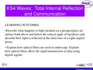 KS4 Waves:  Total Internal Reflection and Communication