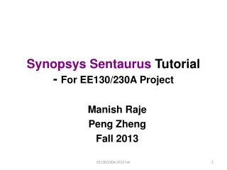 Synopsys Sentaurus  Tutorial -  For EE130/230A Project