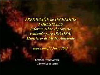 PREDICCIÓN de  INCENDIOS FORESTALES Informe sobre el proyecto realizado para DGCONA,