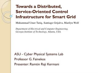 Towards a Distributed, Service-Oriented Control Infrastructure for Smart Grid
