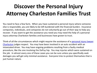 Discover the Personal Injury Attorney Charleston Families Tr
