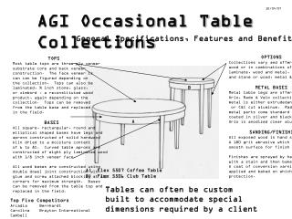 AGI Occasional Table Collections
