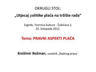 """Krešimir Rožman ,  urednik """"Radnog prava """""""