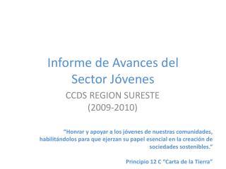 Informe de Avances del  Sector Jóvenes