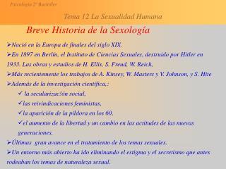 Breve Historia de la Sexología