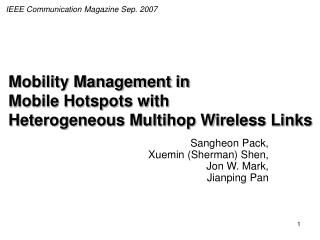 Mobility Management in  Mobile Hotspots with  Heterogeneous Multihop Wireless Links