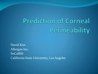 Prediction of Corneal Permeability