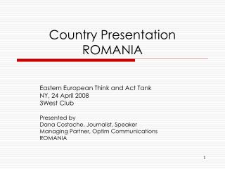 Country Presentation ROMANIA