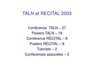 TALN et RECITAL 2003