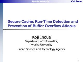 Secure Cache: Run-Time Detection and Prevention of Buffer Overflow Attacks