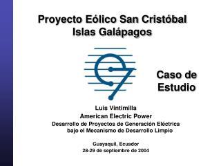 Proyecto E lico San Crist bal  Islas Gal pagos