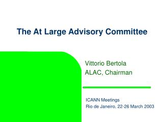 The At Large Advisory Committee