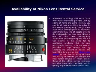 Availability of Nikon Lens Rental Service