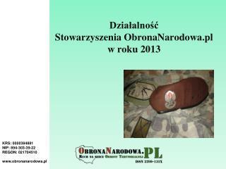 Działalność   Stowarzyszenia ObronaNarodowa.pl  w roku 2013