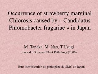 M. Tanaka, M. Nao, T.Usugi Journal of General Plant Pathology (2006)