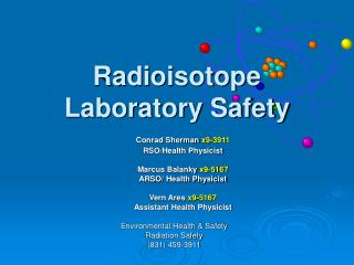 Radioisotope Laboratory Safety