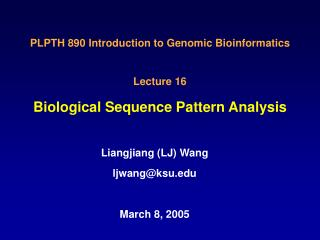 Biological Sequence Pattern Analysis