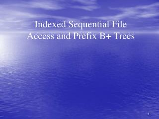 Indexed Sequential File Access and Prefix B+ Trees
