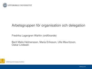 Arbetsgruppen för organisation och delegation
