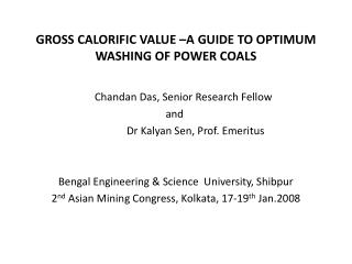 GROSS CALORIFIC VALUE  A GUIDE TO OPTIMUM WASHING OF POWER COALS
