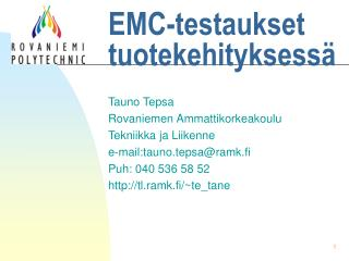 EMC-testaukset tuotekehityksessä