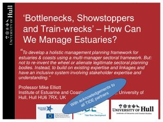 'Bottlenecks, Showstoppers and Train-wrecks' – How Can We Manage Estuaries?