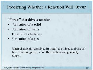 Predicting Whether a Reaction Will Occur