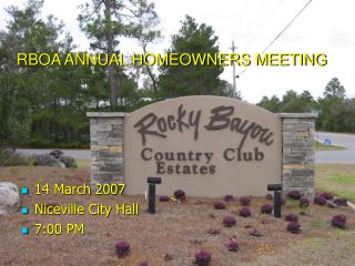 RBOA ANNUAL HOMEOWNERS MEETING