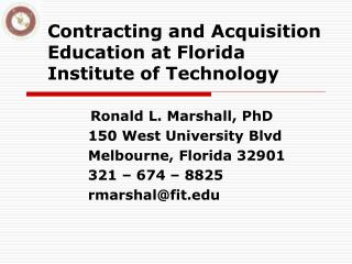 Contracting and Acquisition Education at Florida Institute of Technology