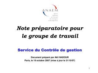 Note préparatoire pour  le groupe de travail Service du Contrôle de gestion