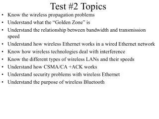 Test #2 Topics