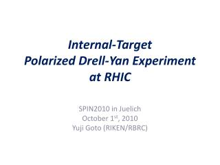 Internal-Target Polarized Drell-Yan Experiment at RHIC
