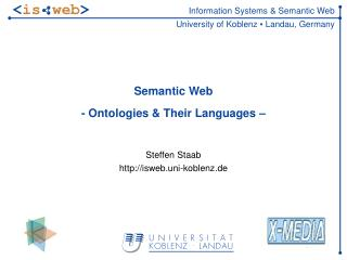 Semantic Web - Ontologies & Their Languages –