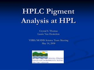 HPLC Pigment Analysis at HPL