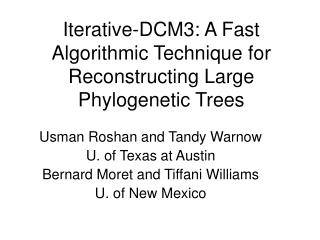 Iterative-DCM3: A Fast Algorithmic Technique for Reconstructing Large Phylogenetic Trees