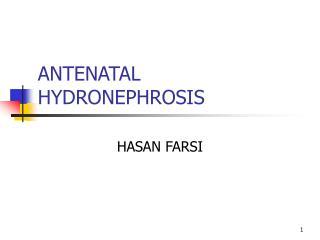 ANTENATAL HYDRONEPHROSIS