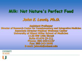 Milk: Not Nature's Perfect Food