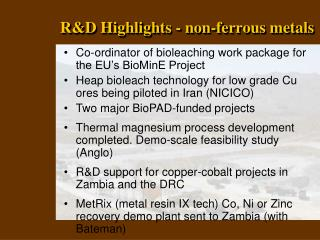 R&D Highlights - non-ferrous metals