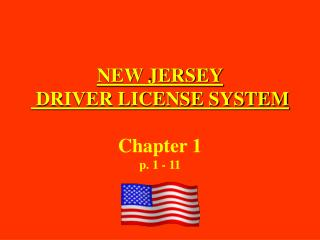NEW JERSEY  DRIVER LICENSE SYSTEM Chapter 1 p. 1 - 11
